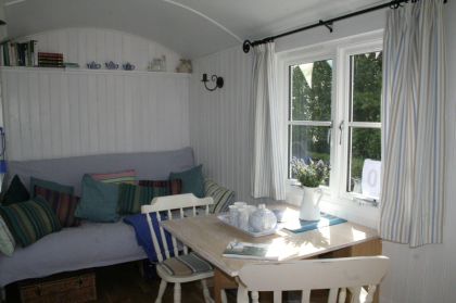 Duchy Shepherd Huts- Sofa bed and table